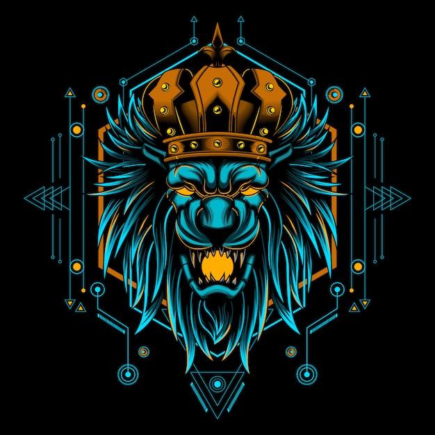 Vektor-illustrationshauptgeometrie lion kings mystische Premium Vektoren