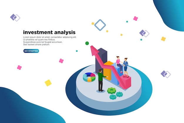 Vektor-illustrationskonzept der investitionsanalyse isometrisches Premium Vektoren