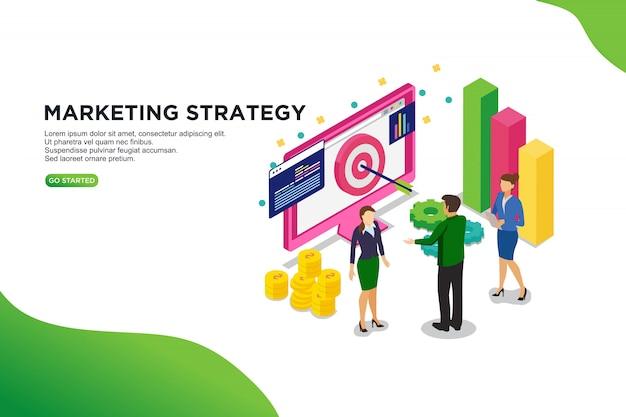 Vektor-illustrationskonzept der marketingstrategie isometrisches. Premium Vektoren