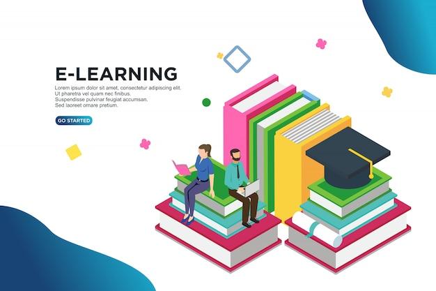 Vektor-illustrationskonzept des e-learnings isometrisches Premium Vektoren
