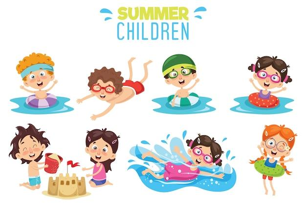 Vektor ilustration von sommer-kindern Premium Vektoren