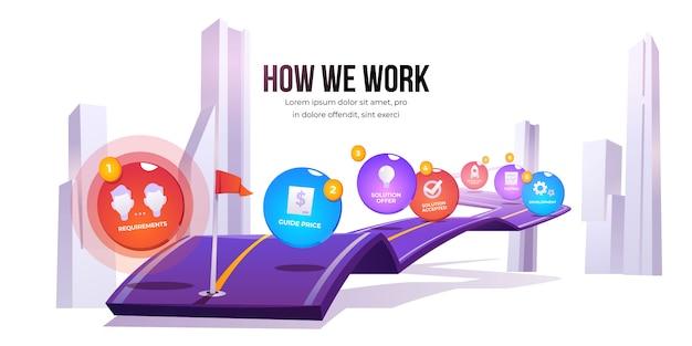 Vektor-infografik der phasen des arbeitsprozesses Kostenlosen Vektoren