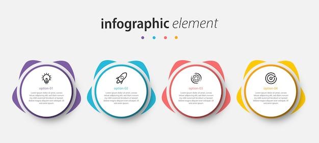 Vektor infografik kreis design präsentationsvorlage mit 4 optionen Premium Vektoren