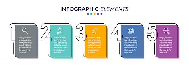 Vektor infographik entwurfsvorlage mit 5 optionen oder schritten Premium Vektoren