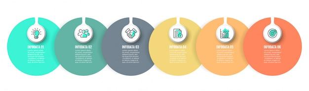 Vektor infographik kennsatzelemente mit kreis und 6 optionen, schritte. Premium Vektoren