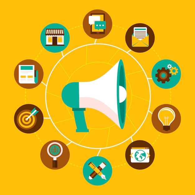 Vektor-internet-marketing-konzept im flachen stil Premium Vektoren