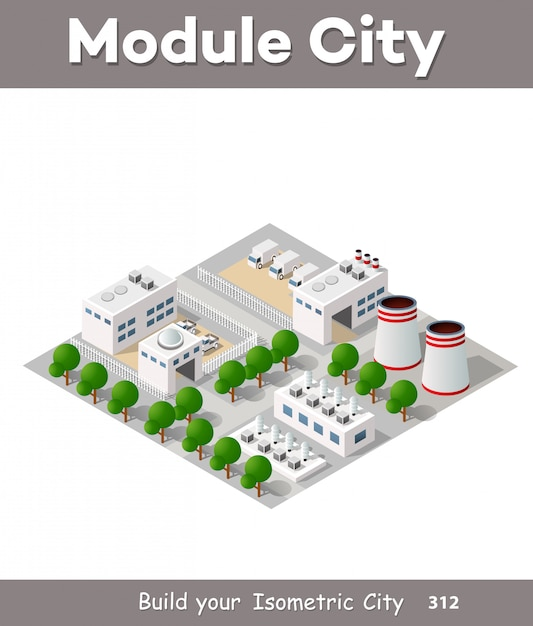 Vektor isometrische fabrikgebäude Premium Vektoren