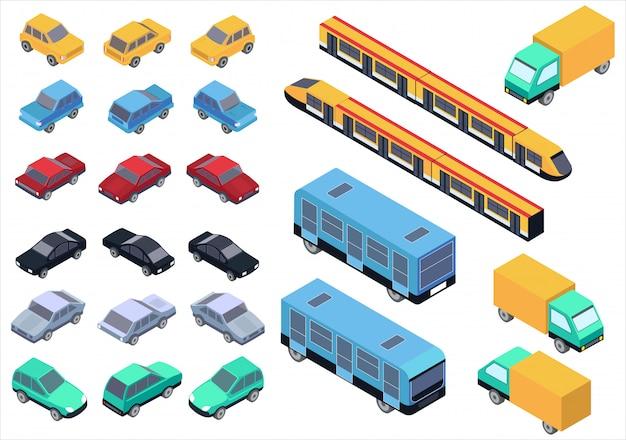 Vektor isometrisches auto, bus, lkw und zugsatz isoliert. Premium Vektoren