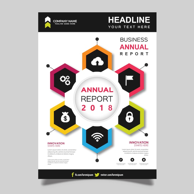 Vektor-Jahresbericht-Broschüren-Schablonen-Design Kostenlose Vektoren