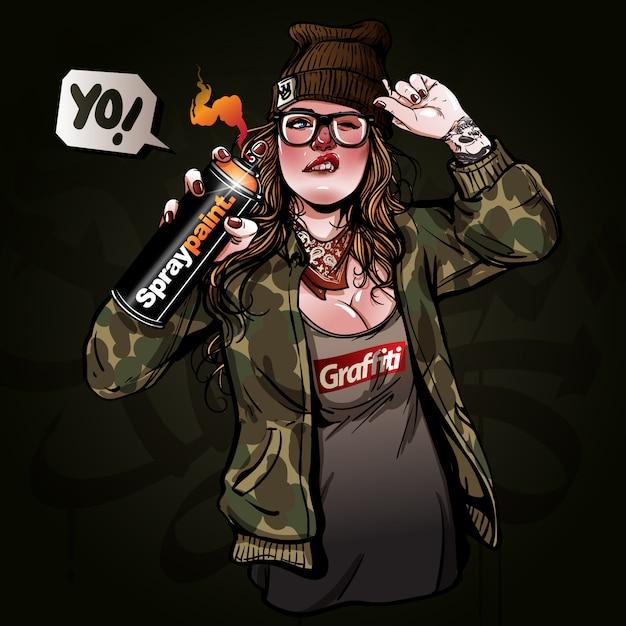 Vektor junge und schönheit mädchen malerei graffiti Premium Vektoren