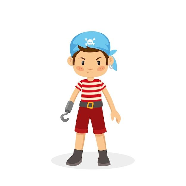 Vektor-karikatur des jungen piraten Premium Vektoren