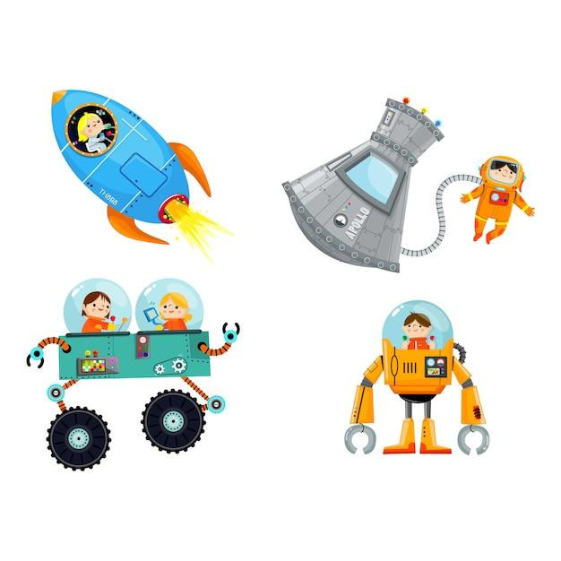 Vektor-karikatur-roboter-raumschablone Premium Vektoren