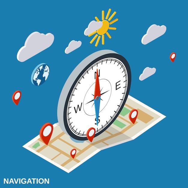 Vektor-konzeptillustration der navigation flache isometrische Premium Vektoren