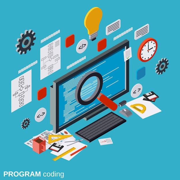 Vektor-konzeptillustration des programms kodierung isometrische Premium Vektoren