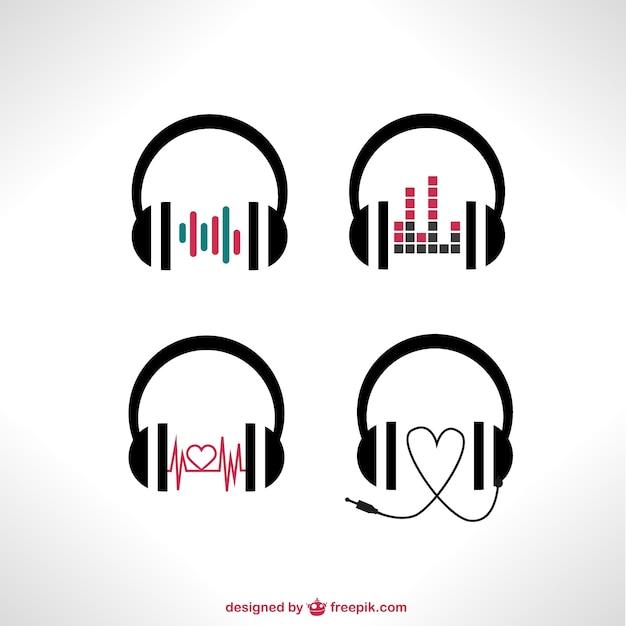 Vektor-Kopfhörer eingestellt Kostenlose Vektoren