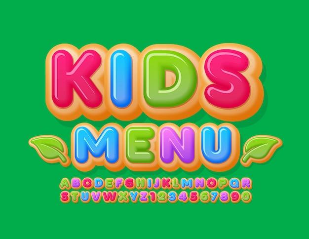 Vektor kreative banner kindermenü mit dekorativen blättern. bunt glasierte schrift. helle kuchen donut alphabet buchstaben und zahlen Premium Vektoren