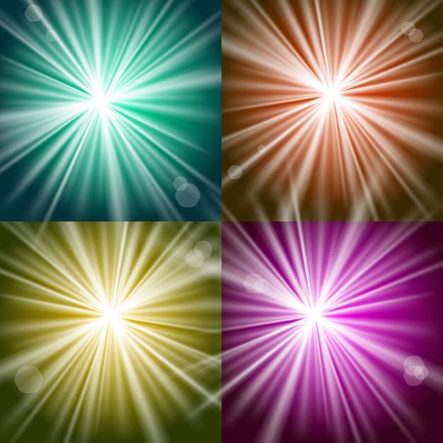 Vektor lichter und blitze auf bunten hintergründen Kostenlosen Vektoren