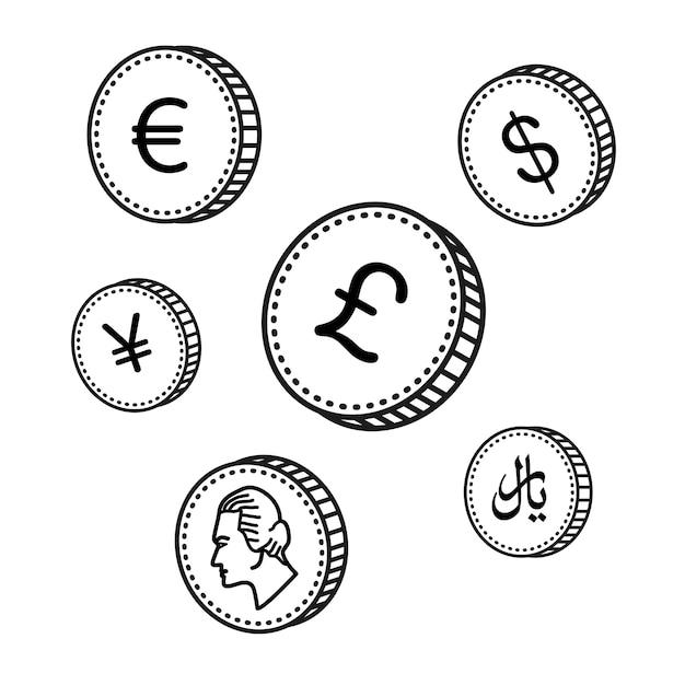 Vektor-linie hand gezeichneten münzen Premium Vektoren