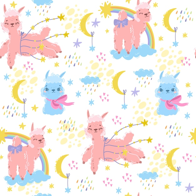 Vektor magisches muster mit alpaka. süßes lama. rosa schaf oder einhorn. verwenden sie für kinder thema. textilien, zimmer, tapeten, kleider bedrucken. gute nacht baby nacht drucken Premium Vektoren