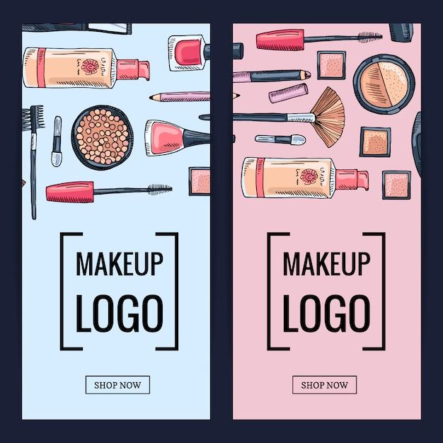 Vektor make-up markenfahnen Premium Vektoren