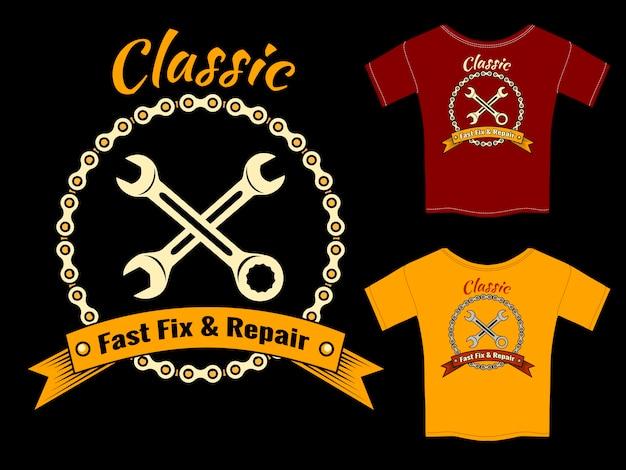 Vektor mechaniker schnelle reparatur und reparatur t-shirt vorlage design isoliert auf schwarzem hintergrund. Kostenlosen Vektoren