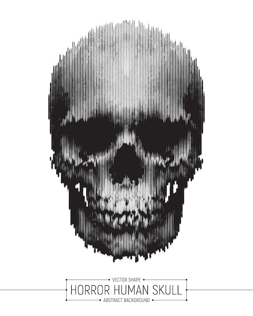 Vektor-menschlicher horror-schädel-kunst-plakat Premium Vektoren
