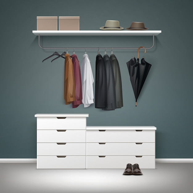 Vektor metall kleiderständer, weiße schubladen und regal mit boxen, jacke, mantel, hemden, hüte schwarzen regenschirm, schuhe vorderansicht Kostenlosen Vektoren
