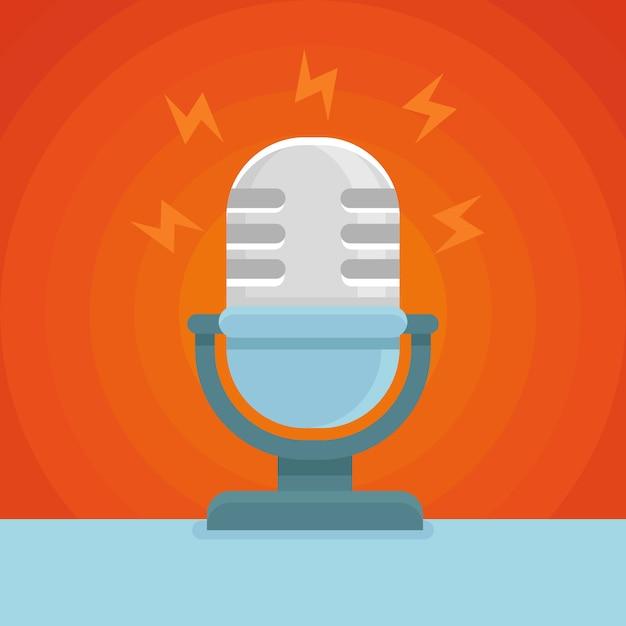 Vektor mikrofon flache Premium Vektoren