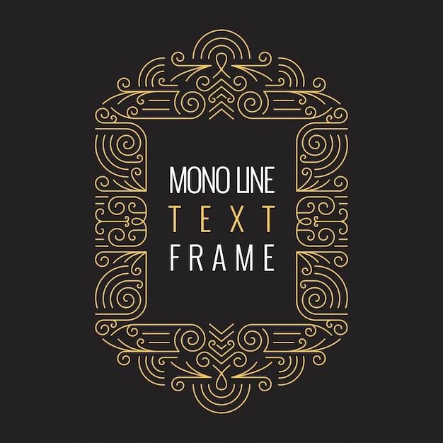 Vektor-monolinie art geometrische rahmen-schablone für text. Premium Vektoren