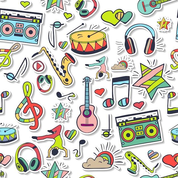 Vektor nahtlose musik und tanzmuster. Premium Vektoren