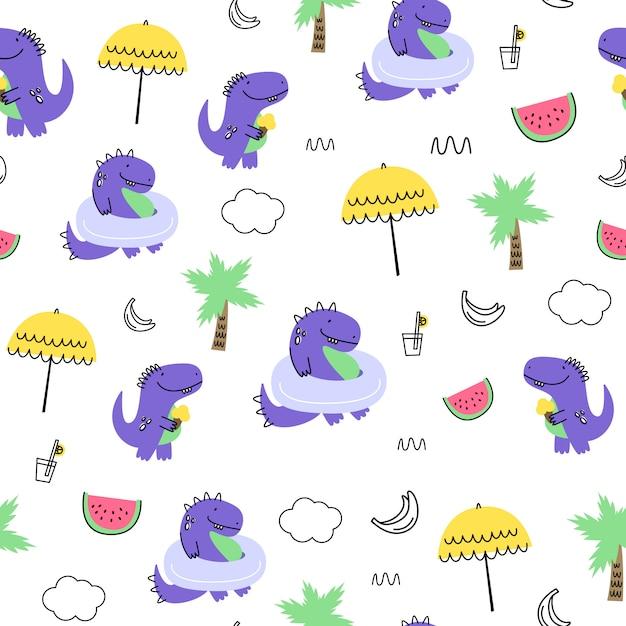 Vektor nahtlose muster mit dinosauriern. cartoon-stil. kinderdruck Premium Vektoren