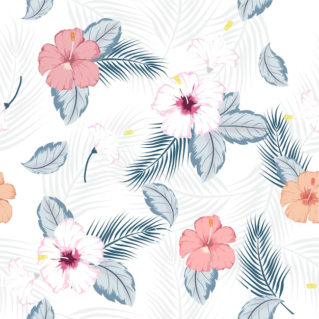 Vektor nahtlose tropischen Hibiskus-Muster | Download der Premium Vektor