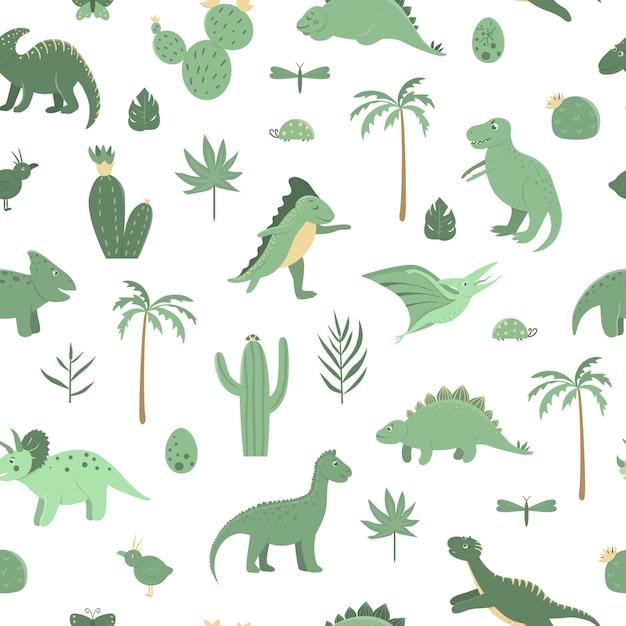 Vektor nahtloses muster mit niedlichen grünen dinosauriern mit palmen Premium Vektoren