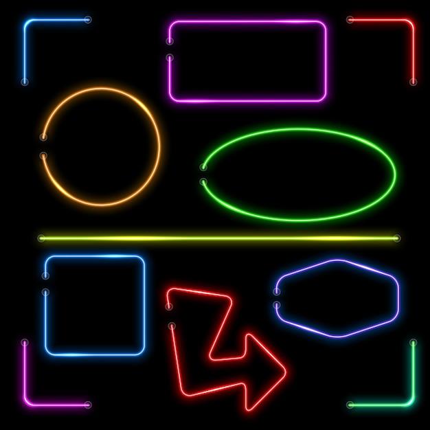 Vektor neon banner gesetzt. farbform beleuchtet, elektrische bunte rahmenillustration Kostenlosen Vektoren