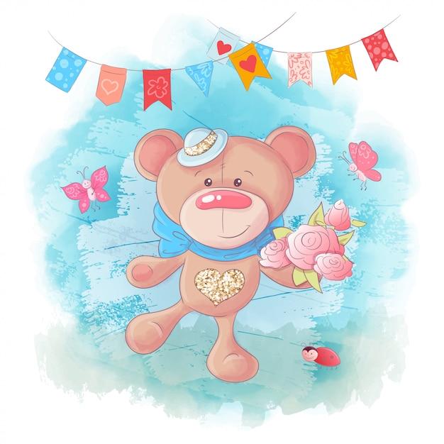 Vektor-netter karikatur teddybär betreffen blauen hintergrund Premium Vektoren