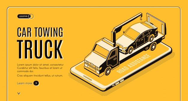 Vektor-netzfahne des autoschleppwagen-onlinedienstes isometrische Kostenlosen Vektoren