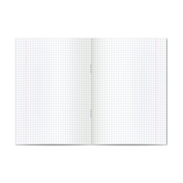 Vektor öffnete realistisches diagramm oder viererkabel angeordnetes schulschreibheft mit roten rändern Premium Vektoren