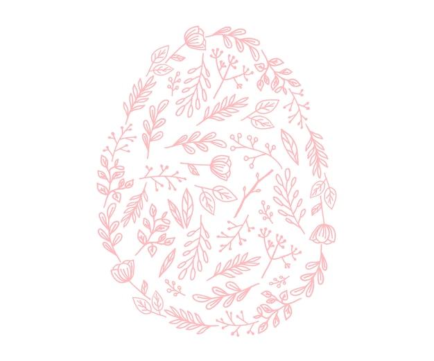 Vektor-osterei-symbol. illustration im flachen stil. osterei mit blumen gemasert. Premium Vektoren