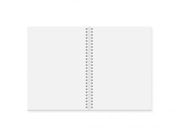 Vektor realistisch geöffnetes notizbuch. vertikales unbelegtes schreibheft mit metallischer silberner spirale Premium Vektoren