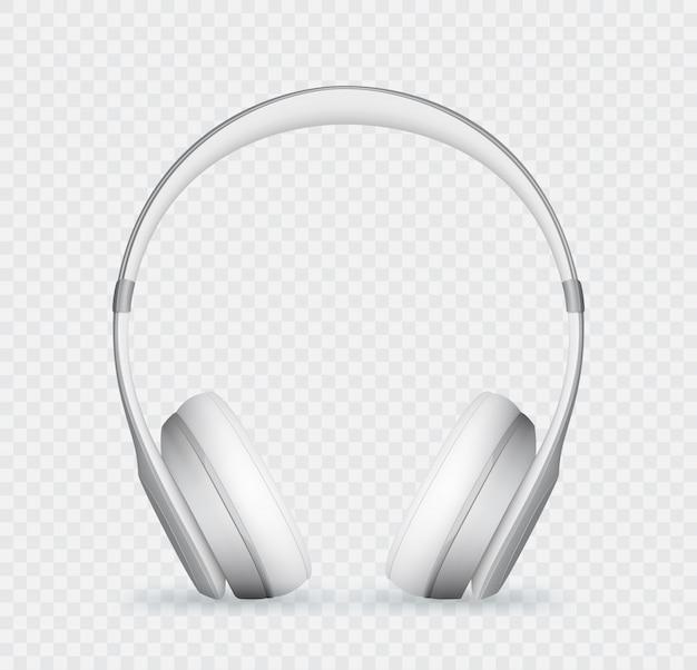 Vektor realistische weiße kopfhörer. Premium Vektoren