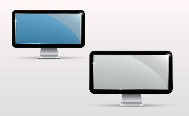 Vektor realistischer fernsehbildschirm. modernes, stilvolles lcd-panel. großes display eines computermonitors Premium Vektoren