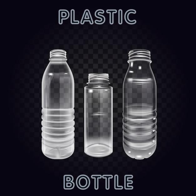 Vektor-realistischer plastikbehälter-mineralwasser-flaschen-getränkeaufkleber lokalisiertes leeres plastikwasser-flaschen-getränk, das mineralvektor plastikgegenstand trinkt Premium Vektoren