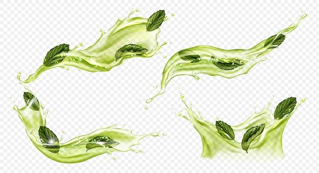Vektor realistischer spritzer von grünem tee oder matcha Kostenlosen Vektoren