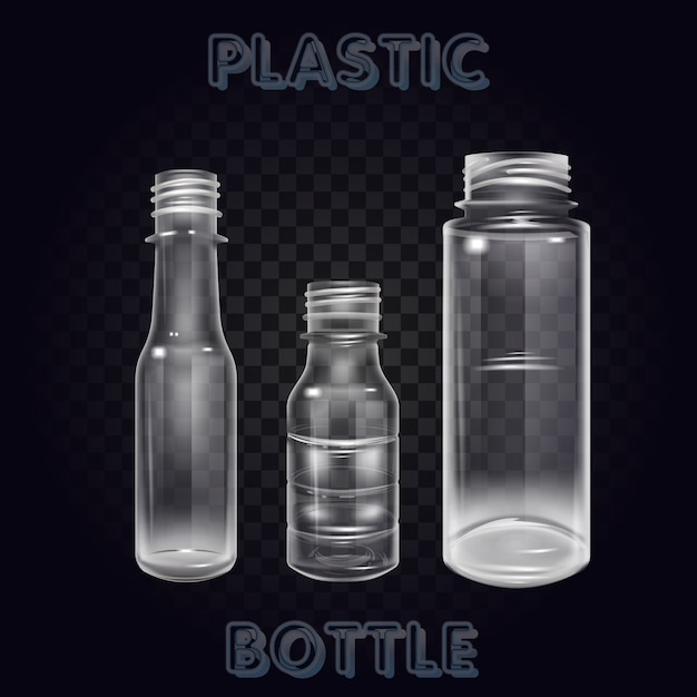 Vektor-realistisches plastikbehälter-mineralwasser-flaschen-getränk lokalisiertes leeres plastikwasser-flaschen-getränk, das mineralvektor plastikgegenstand trinkt Premium Vektoren