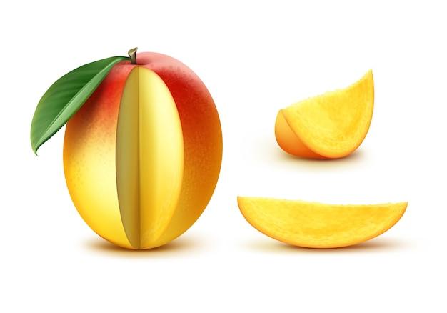 Vektor reife gelbe, orange, rot geschnittene mango mit blatt lokalisiert auf weißem hintergrund Kostenlosen Vektoren