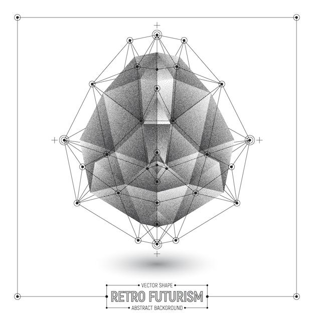 Vektor-retro- futurismus-zusammenfassungs-polygonale form Premium Vektoren