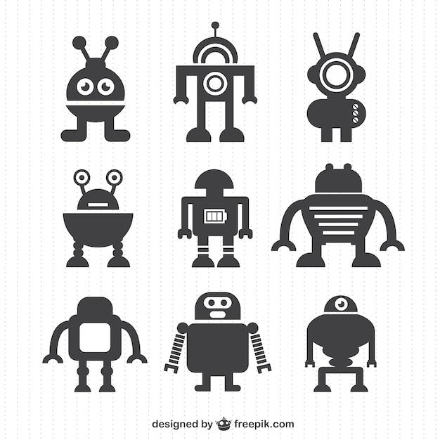 Vektor-roboter silhouetten sammlung Kostenlosen Vektoren