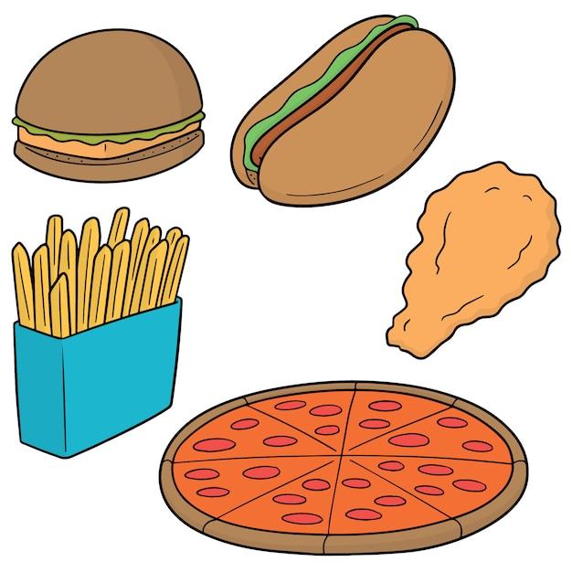 Vektor-satz von fast food Premium Vektoren