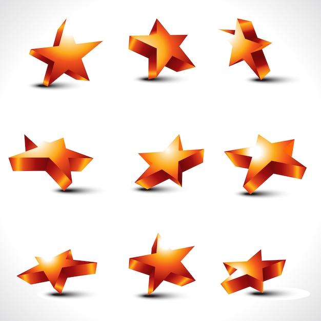 Vektor Satz von neun verschiedenen Sternen Kostenlose Vektoren