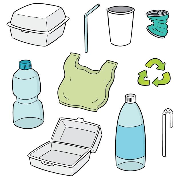Vektor-satz von recycling-artikel Premium Vektoren